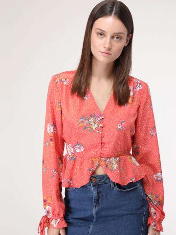 חולצת קרופ מלמלה בהדפס פרחים ונקודות