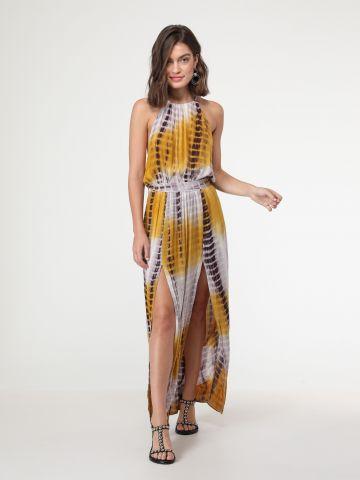 שמלת טאי דאי בסגנון קולר עם שסעים