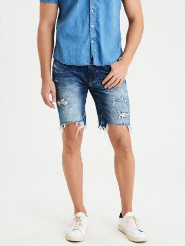 ג'ינס קצר אסיד ווש קרעים Cut Of The Knee