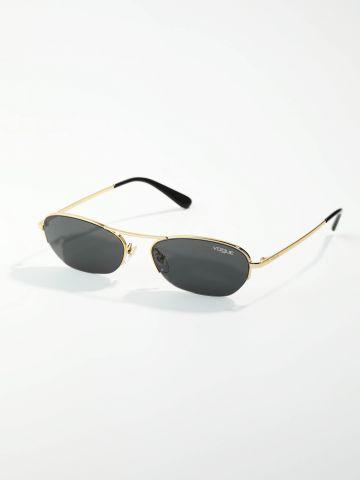 משקפי שמש עגולים עם מסגרת מטאלית דקה