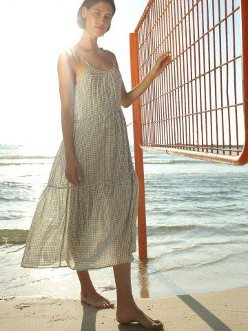 שמלת מקסי פפלום קומות עם כתפיות נקשרות