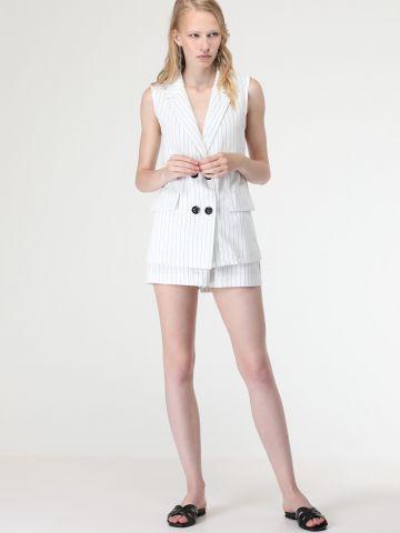 מכנסיים קצרים בהדפס פסים - חלק מחליפה