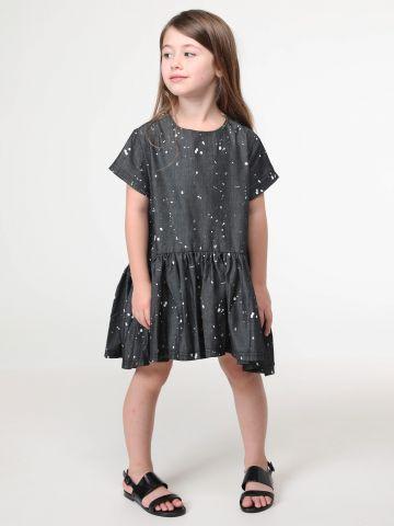 שמלת מיני פפלום עם כתמי צבע