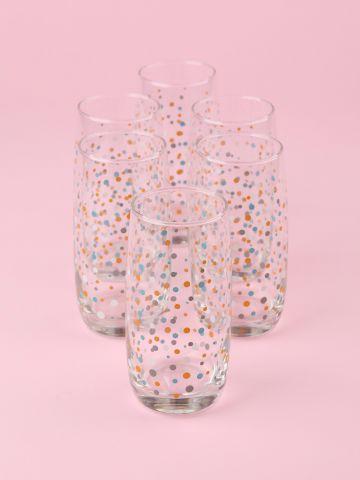 מארז 6 כוסות זכוכית עם הדפס נקודות מולטי קולור לשתייה קרה
