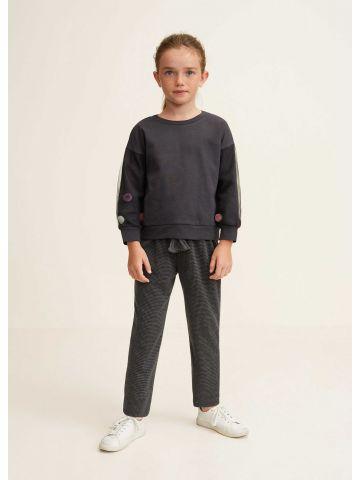 מכנסיים ארוכים בהדפס פפיטה עם גומי ושרוך פונפונים לקשירה