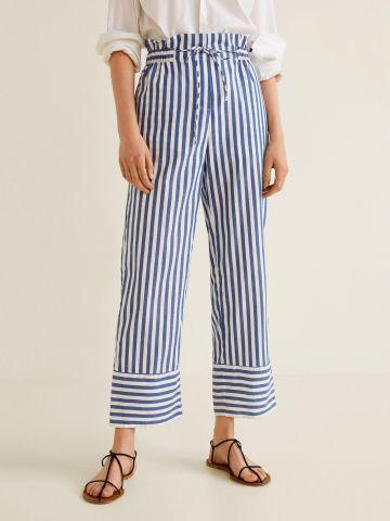 מכנסי פייפרבאג רחבים בהדפס פסים