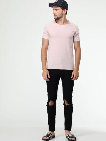 ג'ינס סקיני שחור עם קרעים