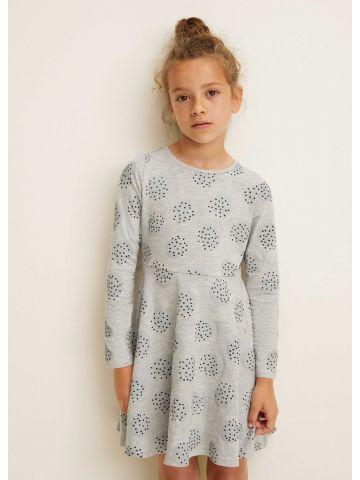 שמלת מיני בהדפס עיגולים ונקודות עם שרוולים ארוכים