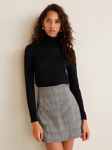 חצאית מיני משבצות עם כיסים