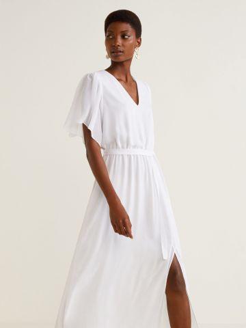שמלת מקסי עם חגורת קשירה ושסע בחזית