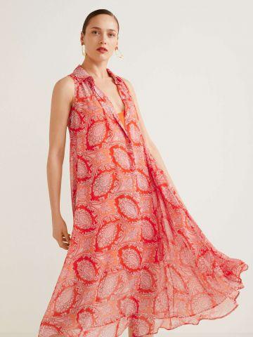 שמלת מקסי מכופתרת בהדפס פייסלי