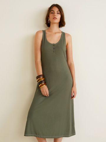שמלת מידי ריב חלקה בשילוב כפתורים