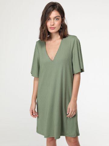 שמלת מיני ריב עם שרוולים נופלים מתרחבים