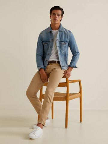 ג'קט ג'ינס בסגנון וינטאג' עם שטיפה בהירה