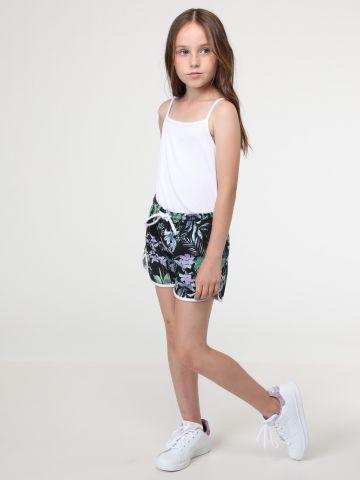 מכנסי טרנינג קצרים בהדפס טרופי עם שוליים בצבע