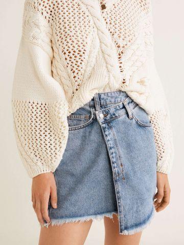 חצאית ג'ינס מעטפת עם סיומת פרומה