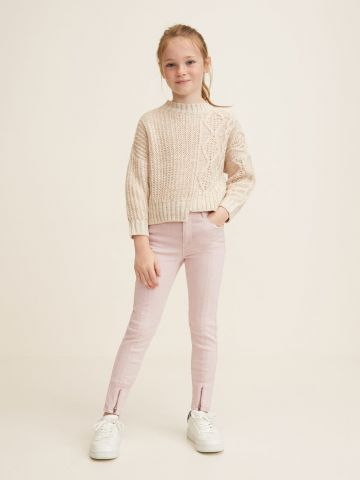 ג'ינס בגזרת סיקיני עם דיטייל רוכסנים