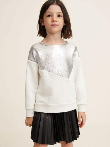 חצאית פליסה דמוי עור עם גומי