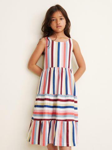 שמלת מידי פסים בסגנון פפלום קומות