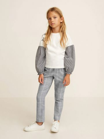 מכנסיים ארוכים בהדפס משבצות