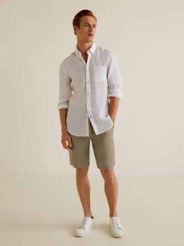 מכנסי צ'ינו פשתן קצרים עם חבל קשירה