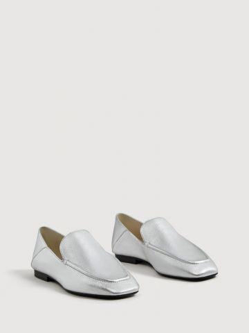 נעלי מוקסינים עור מטאליות