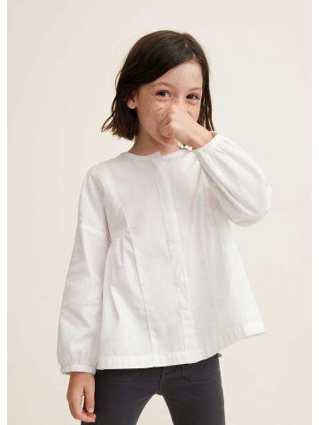 חולצה מכופתרת עם קפלי פליסה