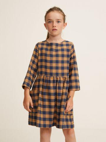 שמלת פפלום בהדפס משבצות / בנות