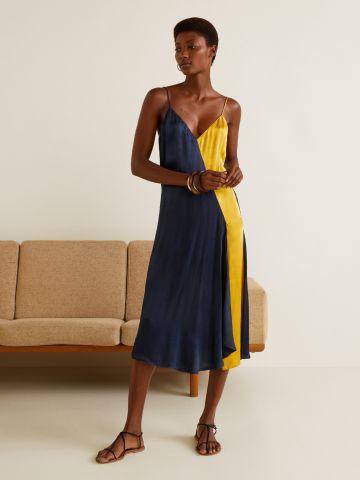 שמלת סאטן מידי קולור בלוק אסימטרית