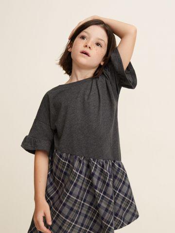 שמלת טי שירט אסימטרית בשילוב הדפס משבצות / בנות