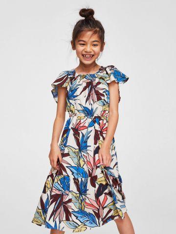 שמלת מידי קומות בהדפס עלים צבעוניים