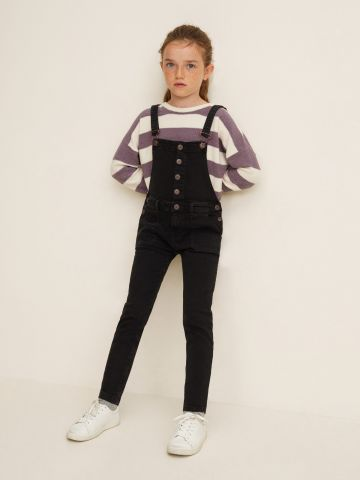 אוברול ג'ינס עם כפתרה קדמית