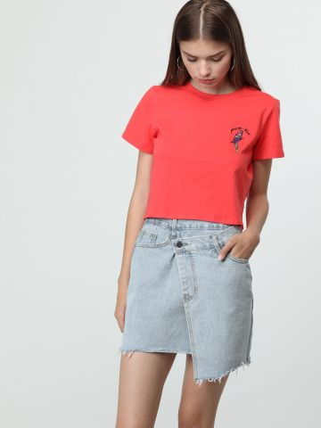 חצאית ג'ינס מעטפת אסימטרית