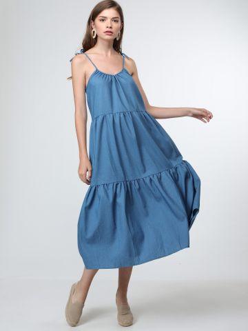 שמלת מקסי קומות דמוי ג'ינס