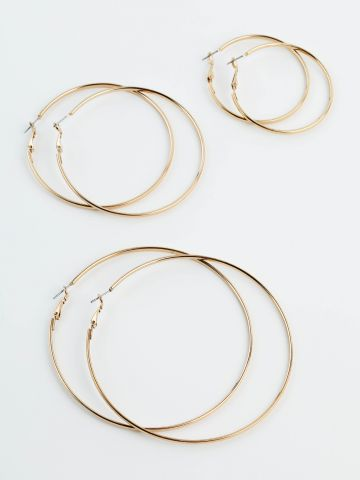 מארז 3 זוגות עגילי חישוק בצבע זהב