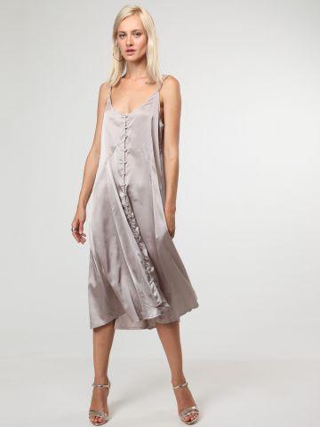 שמלת סאטן מידי אסימטרית עם כפתורים