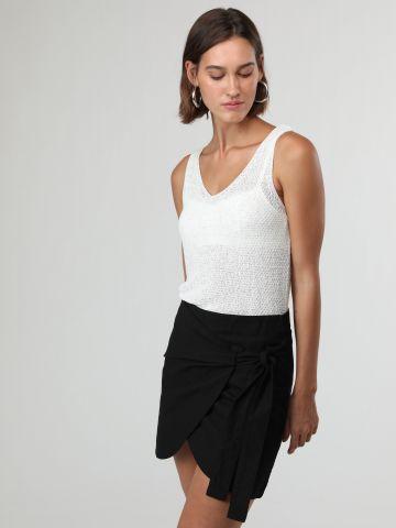 חצאית מיני מעטפת עם קשירה