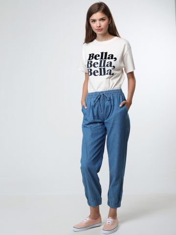 מכנסיים מבד דמוי ג'ינס עם שרוכי קשירה