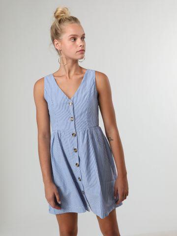 שמלת מיני פסים עם כפתורים בחזית