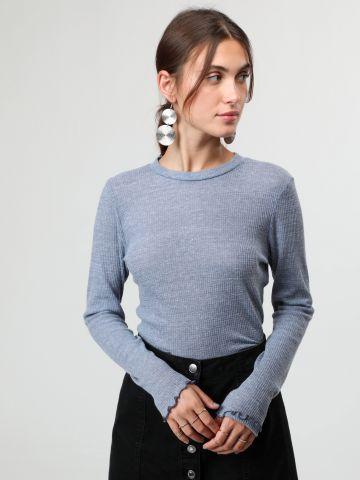 חולצת סריג וופל דקיקה