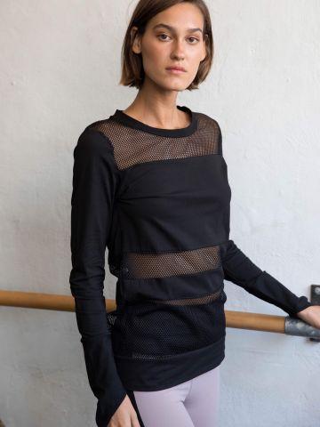 חולצה ארוכה בשילוב פסי רשת