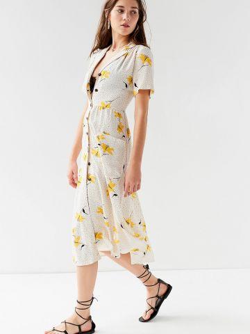 שמלת מידי מכופתרת בהדפס פרחים ונקודות UO