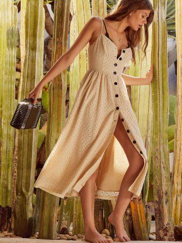 שמלת מידי עם כפתורים ועיטורי רקמה UO