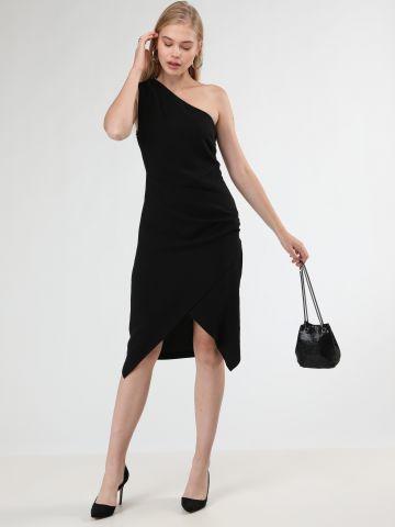 שמלת מידי וואן שולדר עם סיומת בסגנון מעטפת