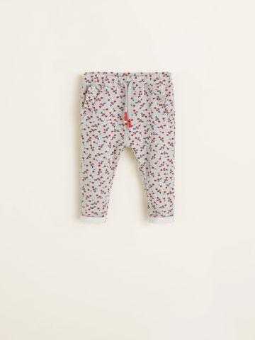 מכנסי טרנינג בהדפס פרחים עם כיסי מלמלה / בייבי בנות