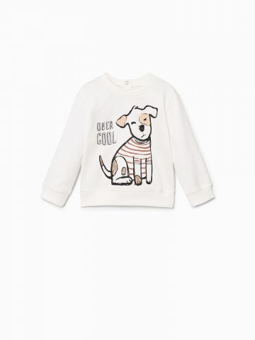 סוושטירט עם הדפס כלבים Over Cool בשילוב רקמה / בייבי בנים