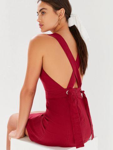 שמלת פשתן מיני עם איקס בגב UO