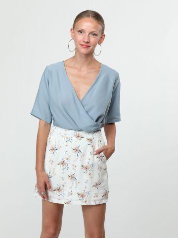 חצאית מיני בהדפס פרחים עם כיסים
