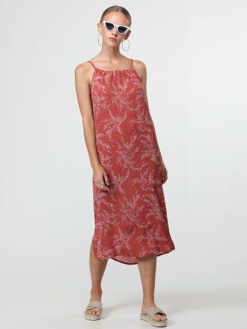 שמלת מידי בהדפס נוצות עם כיווצים