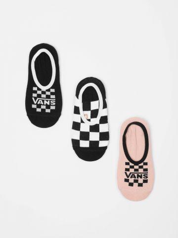 מארז 3 זוגות גרביים נמוכים בהדפסי לוגו משבצות / נשים